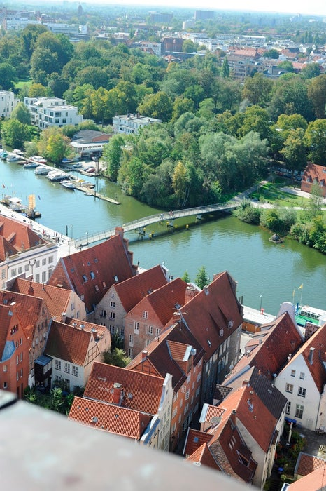 Overview of waterfront city of Lubeck.