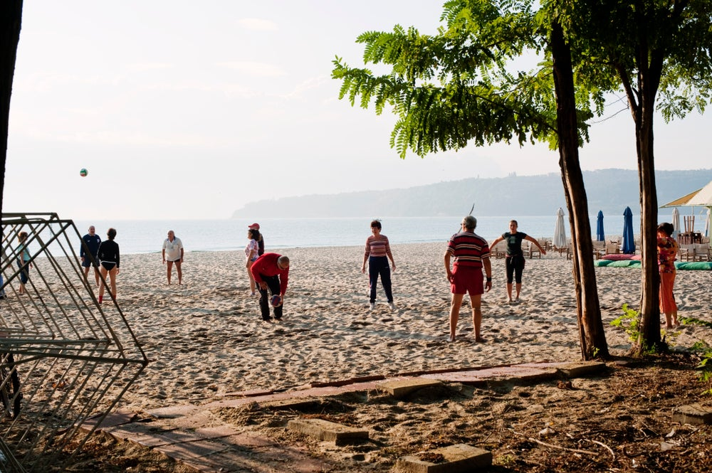 People playing on Kavarna Beach.