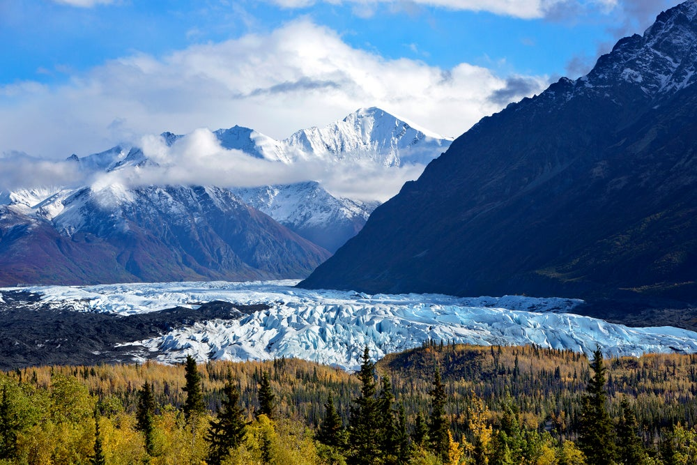 The Chugach Mountains lie 100 miles northeast of Anchorage – this view of the range from the Glenn Highway also features the terminus of the Matanuska Glacier.