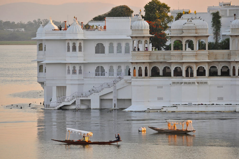 Lake Palace sitting on a island on Lake Pichola.