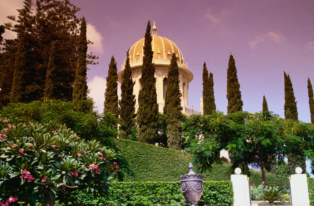 Baha'i Shrine, constructed of Chiampo stone, with monolithic columns of Rose Baveno Granite - Haifa