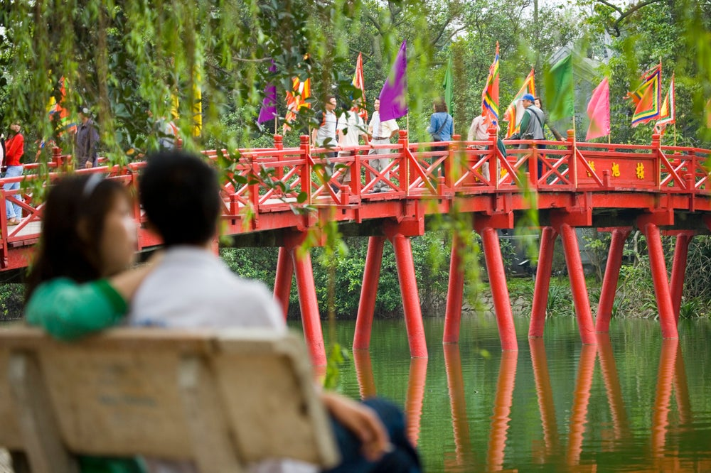 The Huc Bridge on Hoan Kiem Lake.