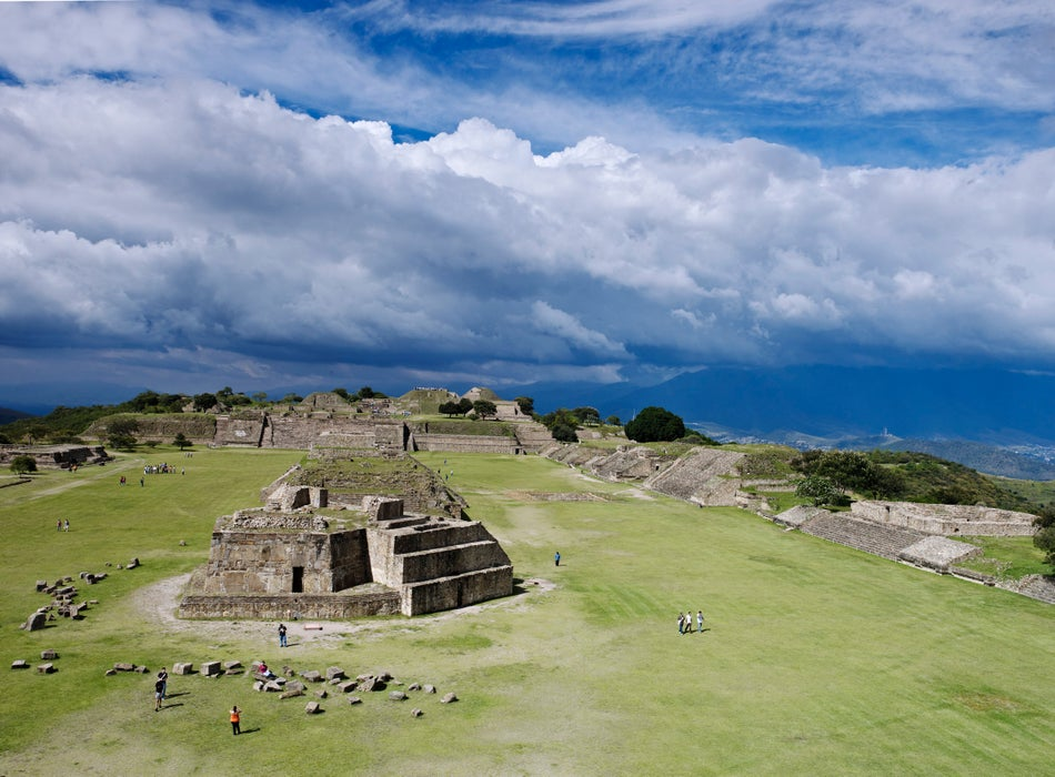 Overview of Monte Alban archaeological site on mountain-top above Oaxaca City.