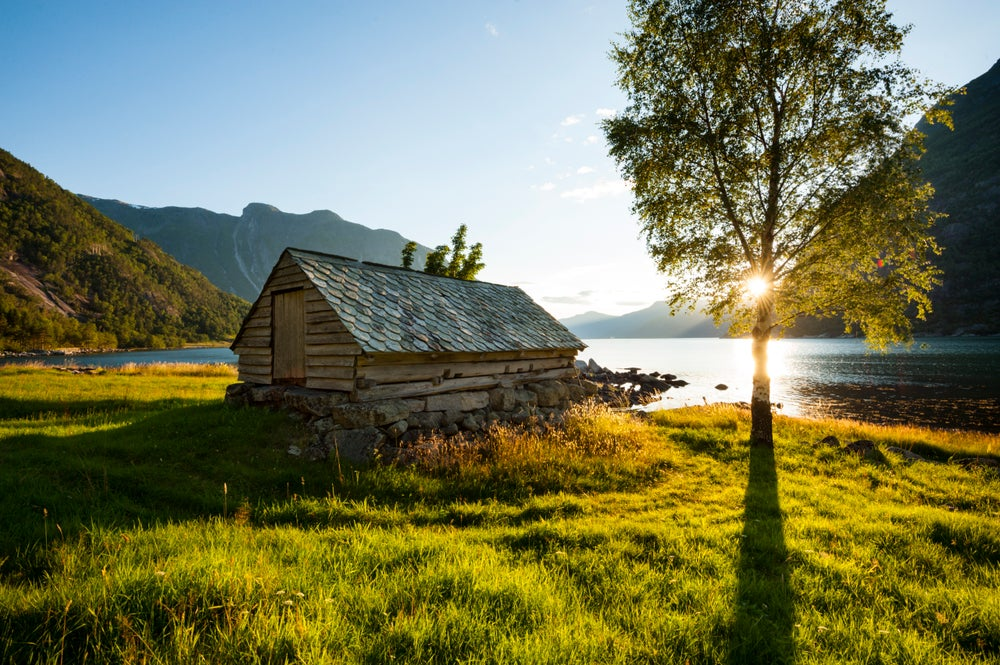 Ancient farm house in Hardangerfjord.