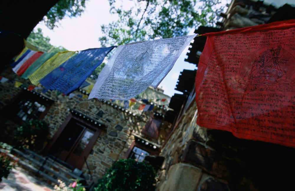 Colourful prayer flags hanging at the Jacques Marchais Centre of Tibetan Art, which houses the largest collection of Tibetan art outside China