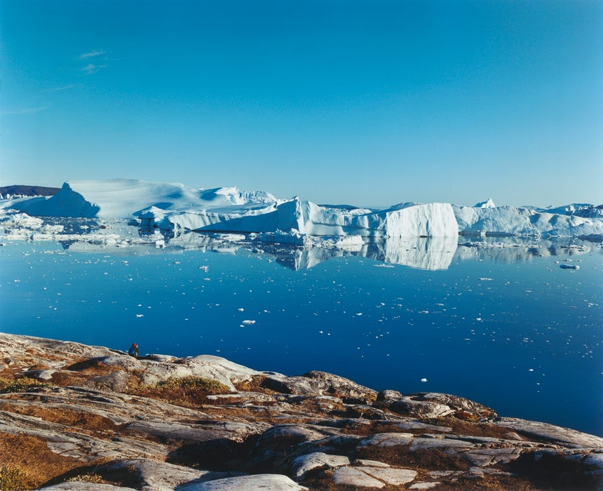 Overview of Ilulissat's ice fjord near Sermeq Kulalleq glacier at mouth of sea.