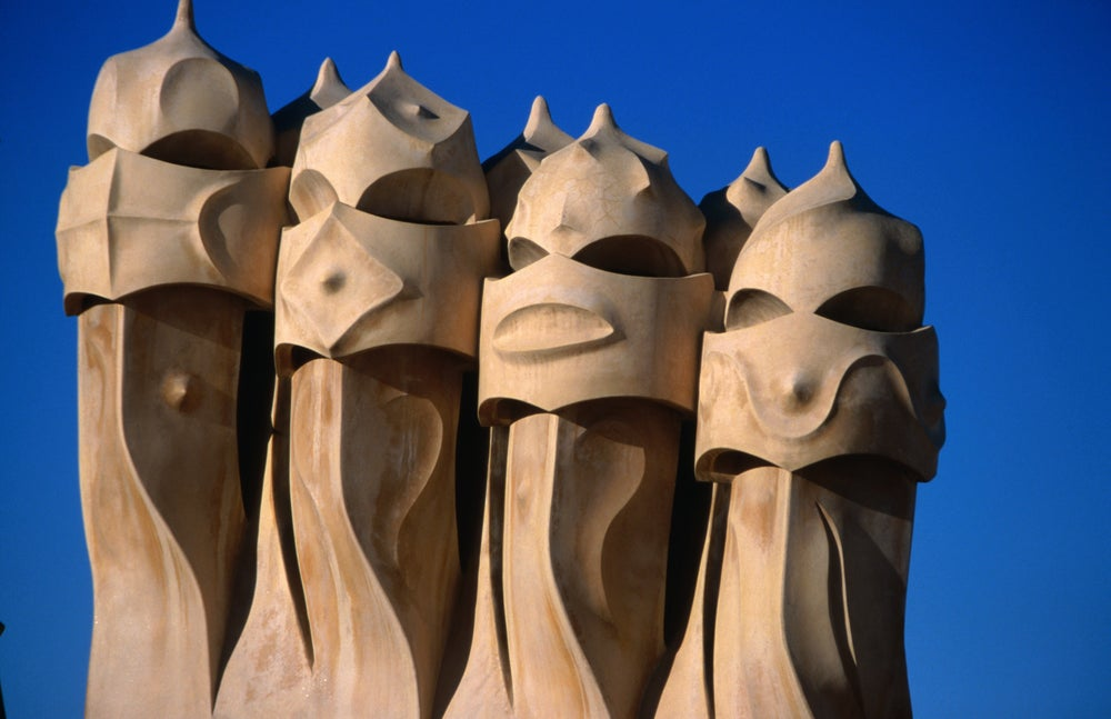 Chimney pots become art on the rooftop of Antonio Gaudi's La Pedrera (Casa Mila) in Barcelona.