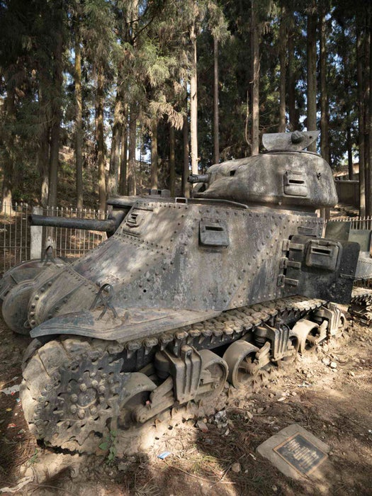 Military tank on display at Kohima War Museum of WW2.