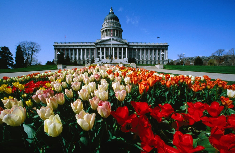 The gardens of Salt Lake City's Capitol Building.
