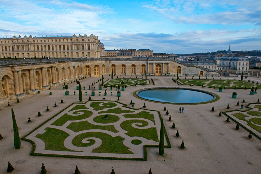 Overview of Southern Parterre gardens at Versailles.