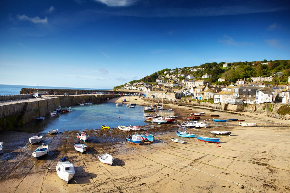 Low tide in Mousehole's harbour.