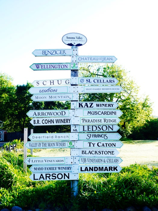 Signpost with directions to various farms and wineries.