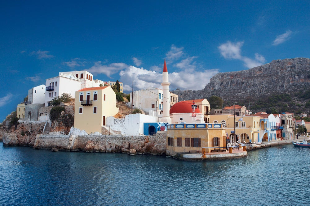 Island village of Kastellorizo, two miles from Turkish coast on Southern Agean.