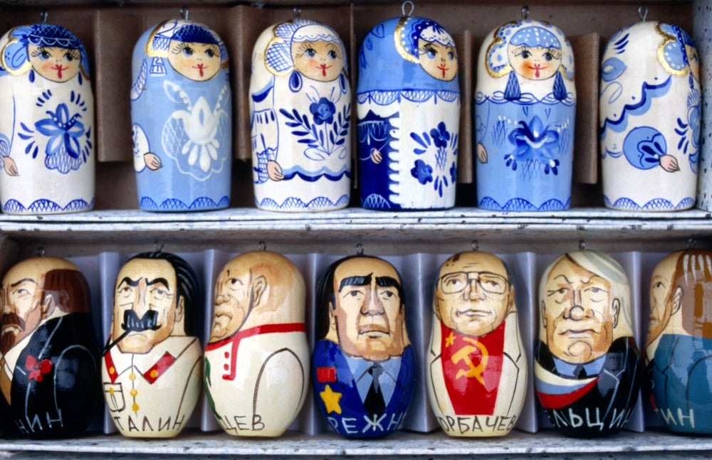 Souvenir market - Christmas decorations depicting Soviet leaders.