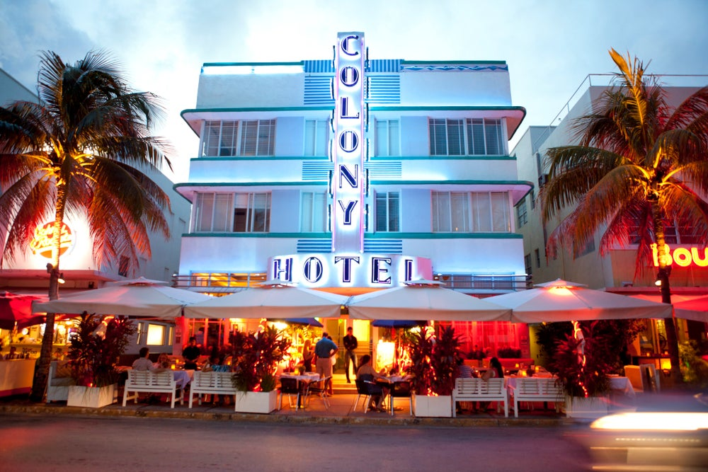 Art Deco era Colony Hotel on Ocean Drive.