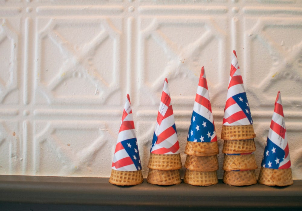 Stars and Stripe cone holders at Brooklyn Ice Cream Factory.