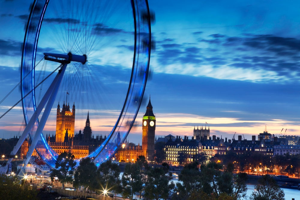 London Eye and Houses of Parliament at dusk.
