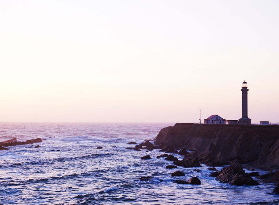 Point Arena Lighthouse at dusk.