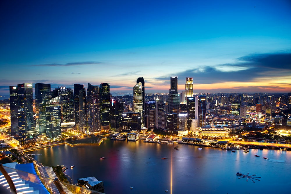City skyline from observation deck of Marina Bay Sands SkyPark.