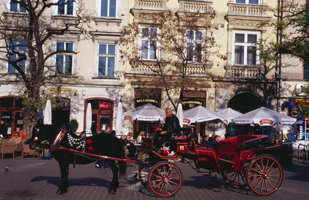 Horse drawn carriage in Main Street Square (Rynek Glowny).