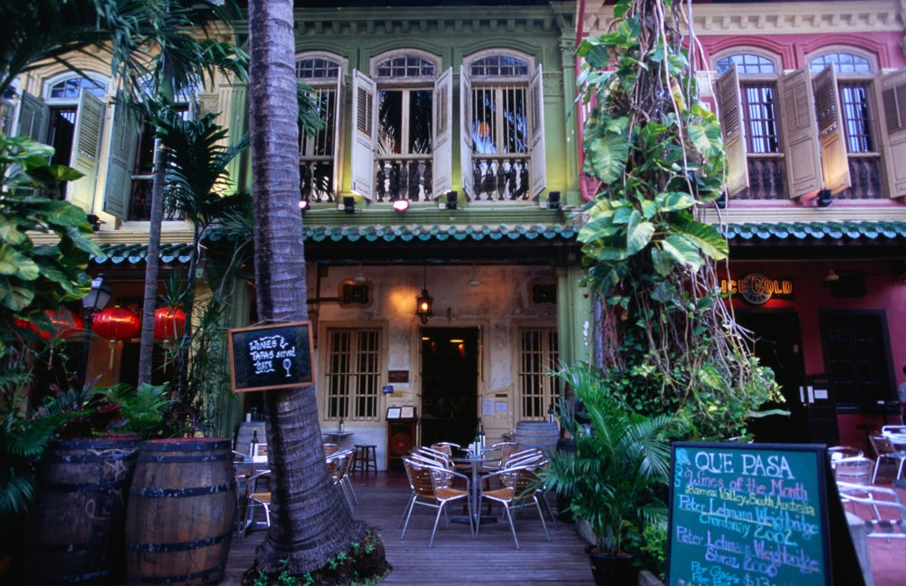 Exterior of Que Pasa Pub on Emerald Hill Road.