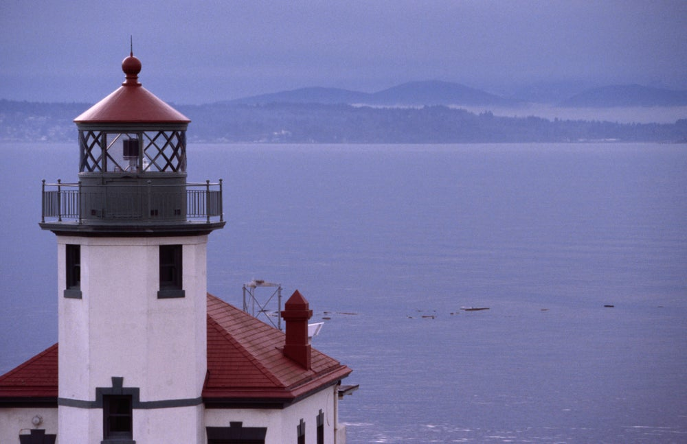 Alki Point Light Station on Alki Beach, the southern entrance to Seattle's harbour.