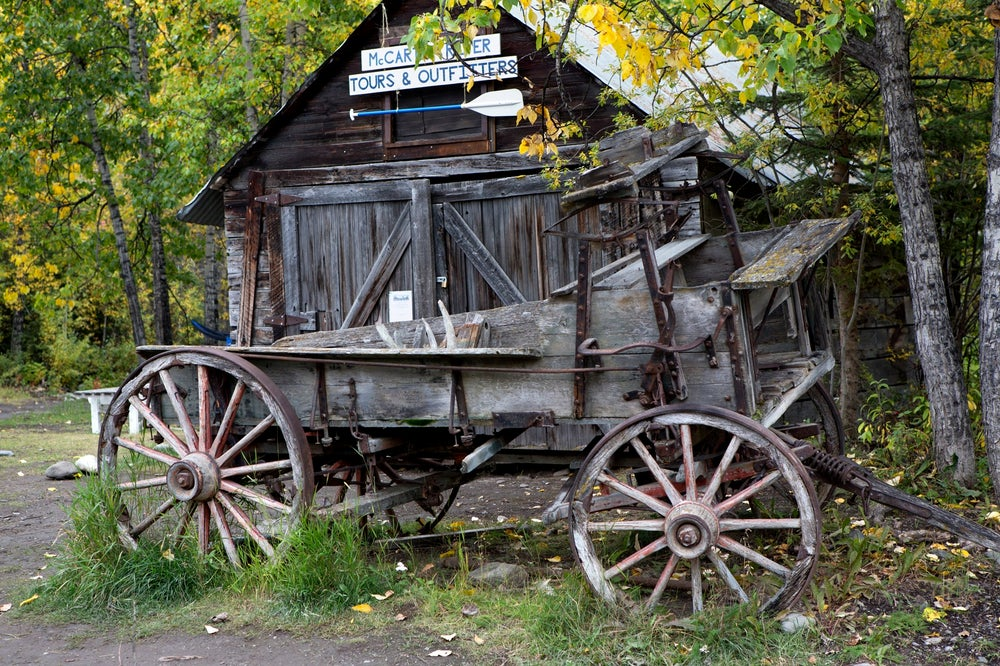 A vintage, weatherworn wagon sitting outside McCarthy on the Edgerton Highway.
