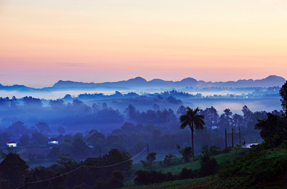 Valle de Viñales surrounded by the Cordillera de Guaniguanico mountains.