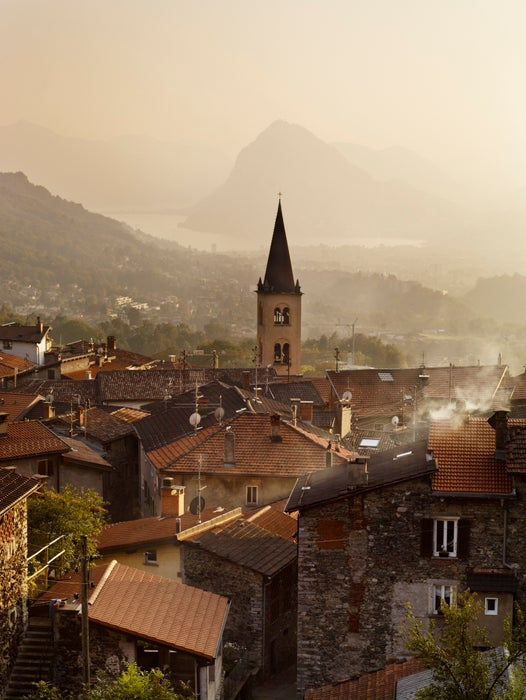 Overview of village of Sonvico and Lake Lugano.