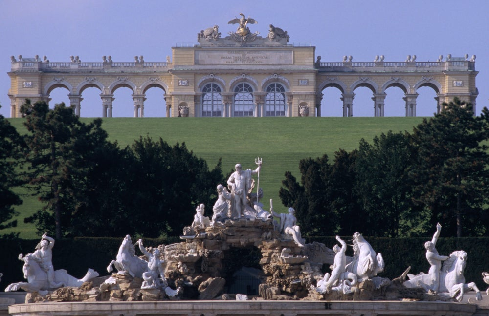 Cafe Gloriette in Gloriette Monument on top of hill overlooking Schloss Schonbrunn and Neptune fountain, Hietzing.