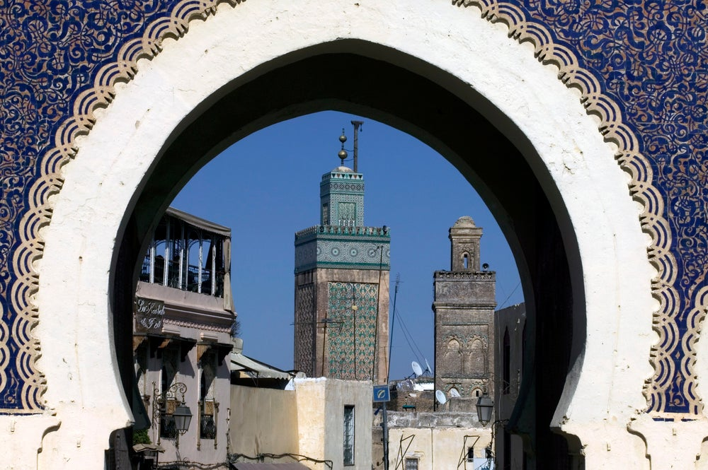 Bab Bou Jeloud (The Blue Gate) and minarets.