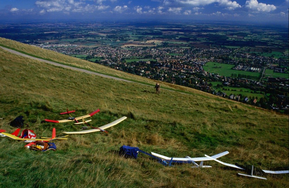 The Cotswolds: Model gliders on the Malvern Hills - England