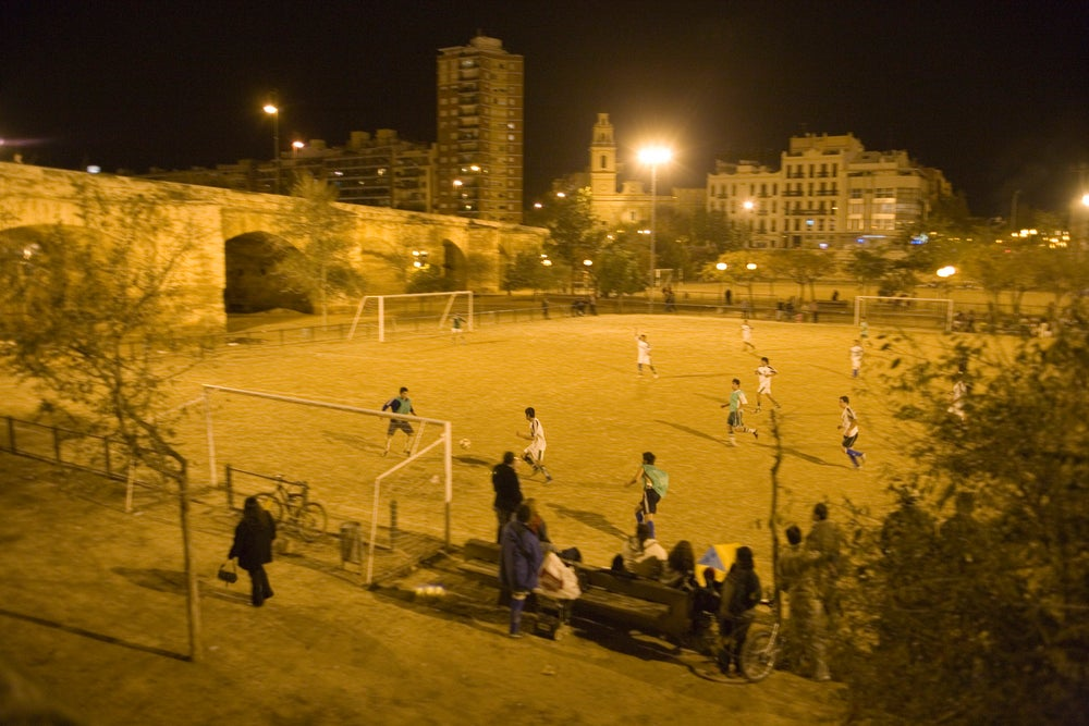 Night time soccer match, Turia River Bed.