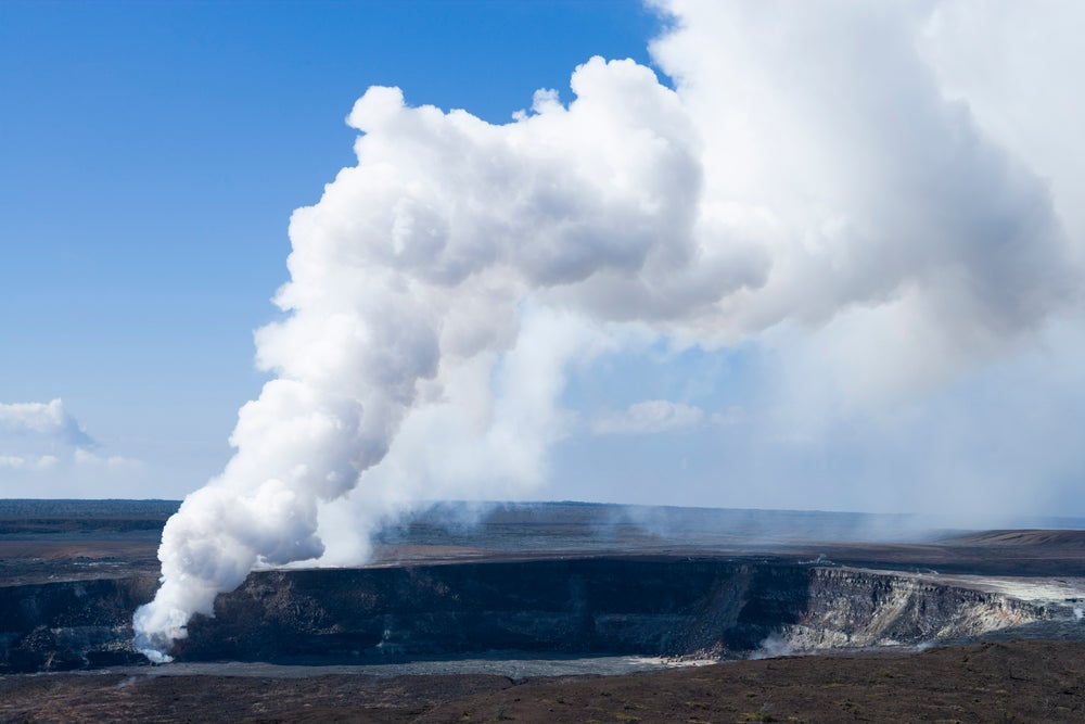 View of Halema'uma'u Crater with recent vent, from Jagger Museum lookout, Crater Rim Drive, Kilauea Volcano, HAVO.