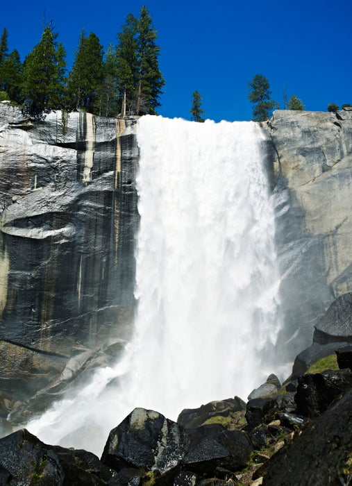 Water pouring over Vernal Falls.