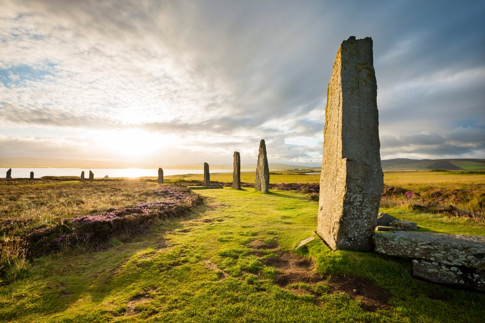 Stone circle 'Ring Of Brodgar' at sunrise.