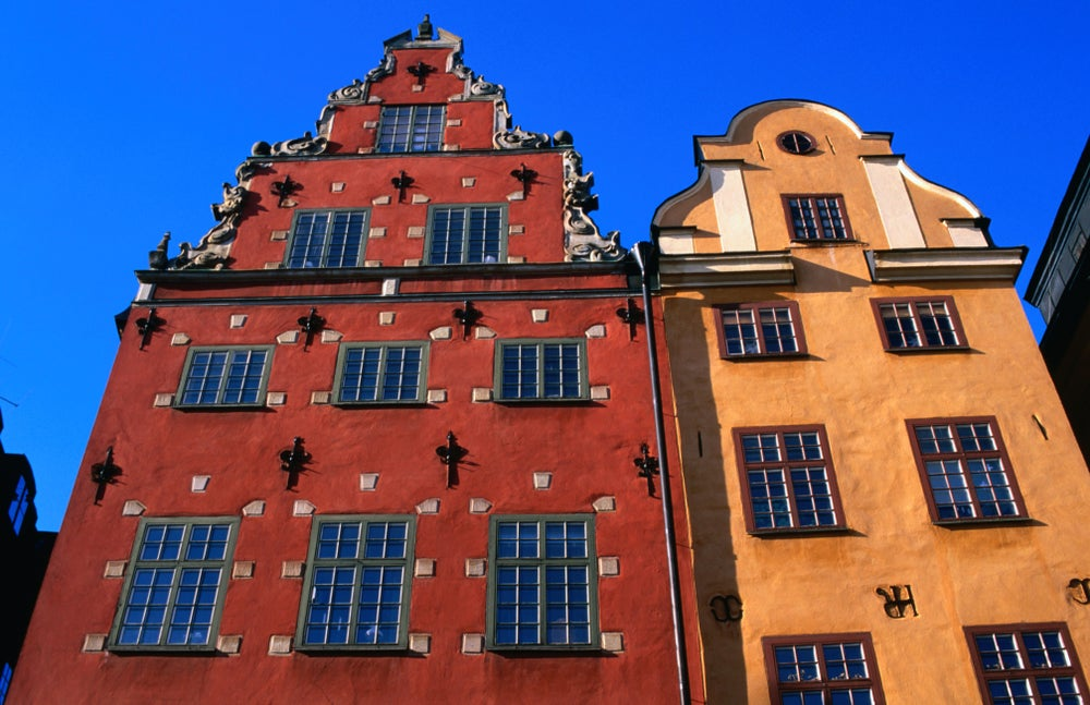 Building facades on Stortorget square.