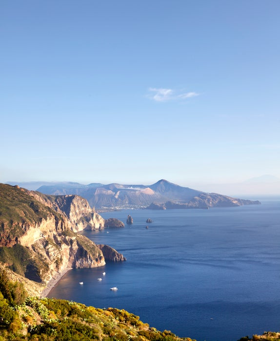 Views looking out towards Vulcano island from west coast of Lipari.