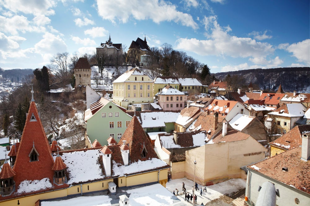 Overview of walled town of Sighisoara, birthplace of Vlad Dracula.