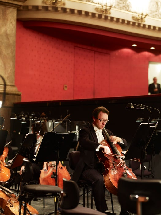A cellist rehearses ahead of a performance at Munich's National Theatre.