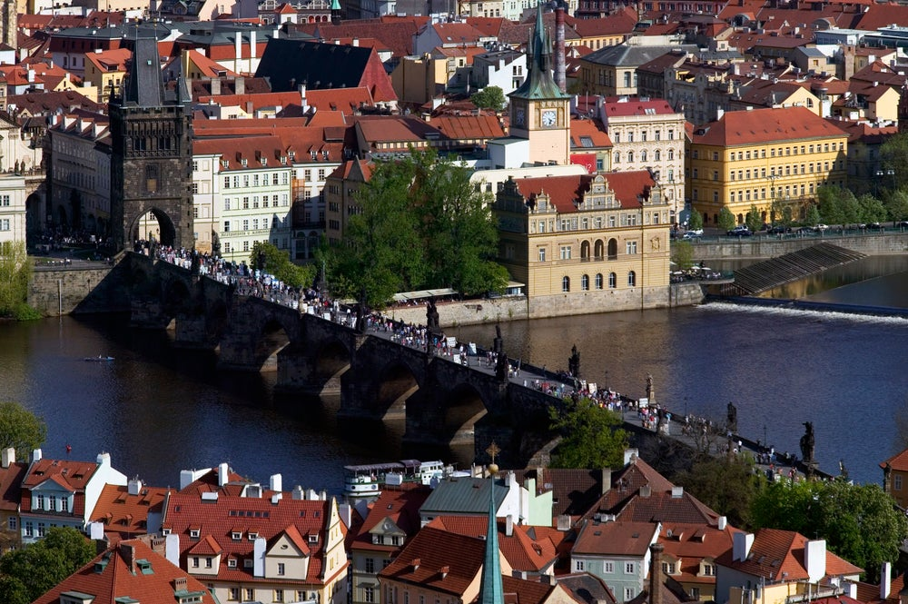 Charles Bridge and the Vltava River.