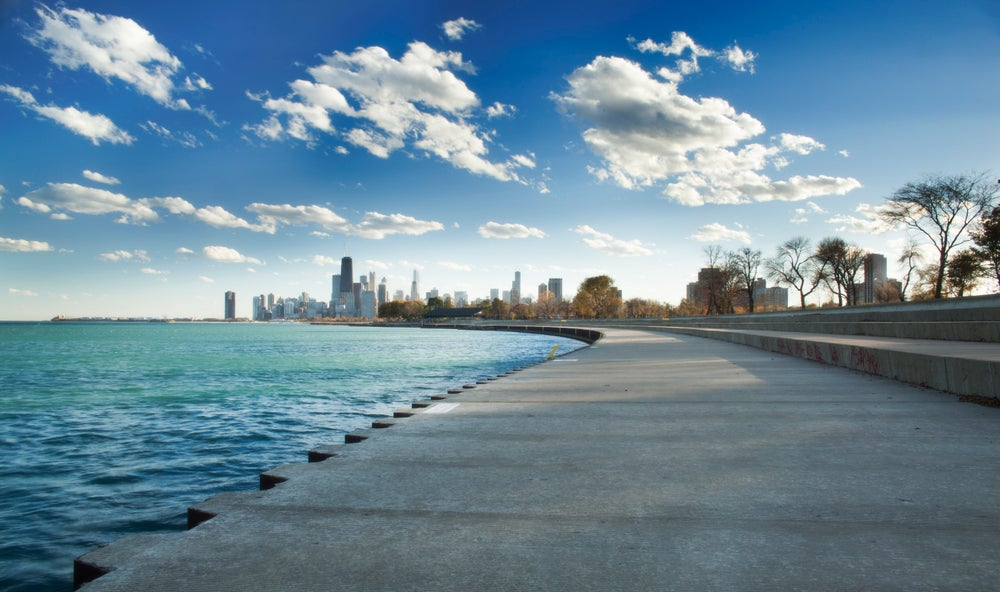 View of Chicago from Lincoln Park beside Lake Michigan.