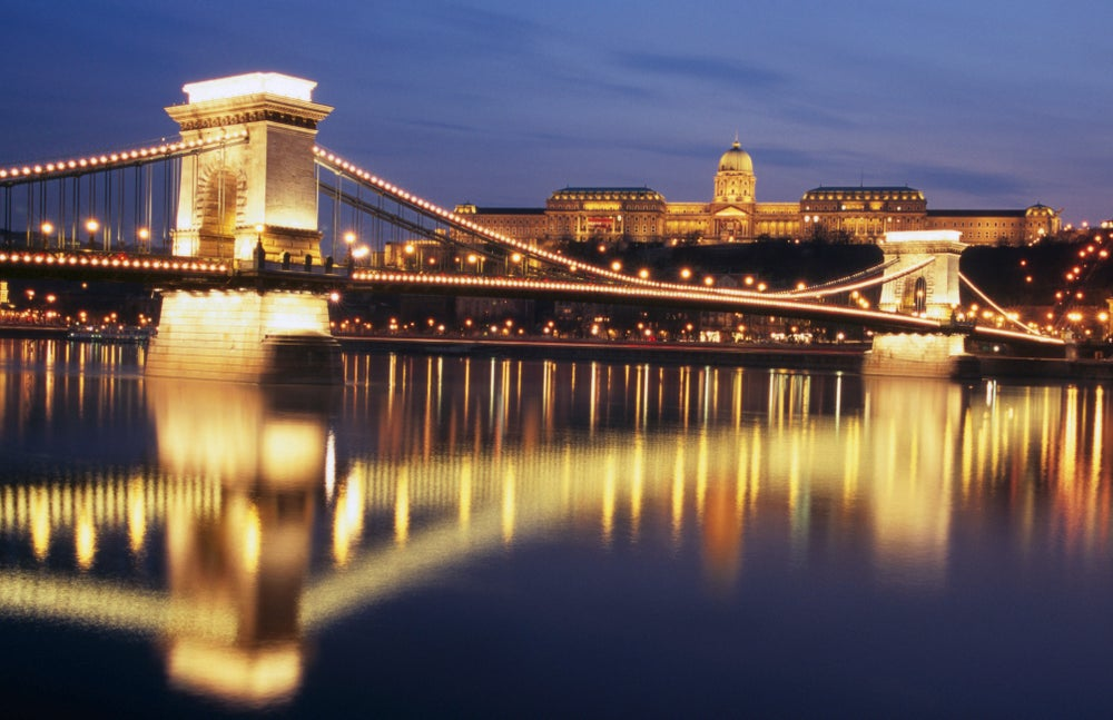 Szechenyi Bridge and Castle Hill at twilight.