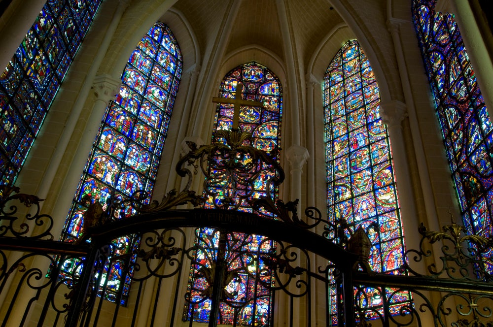 Stained-glass windows in Cathedrale Notre Dame de Chartres.