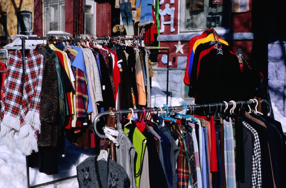 Vintage clothes for sale in Kensington Market.
