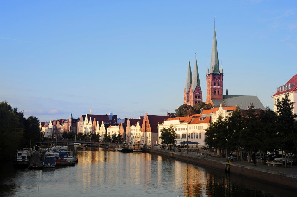 Hanseatic city of Lubeck on Trave River.