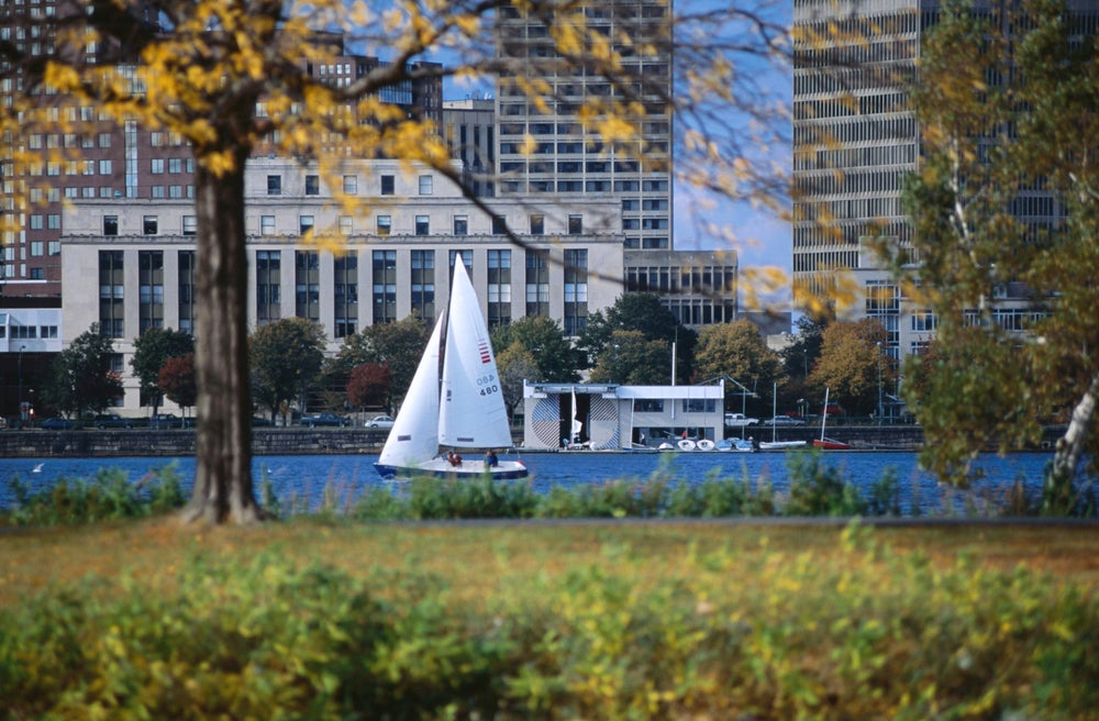 Sailing off the Esplanade on the Charles River.