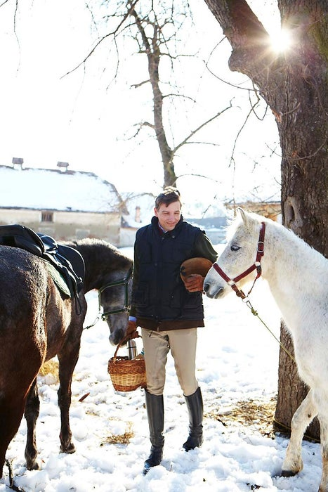 Count Kalnoky with his horses at one his estates in Romania.