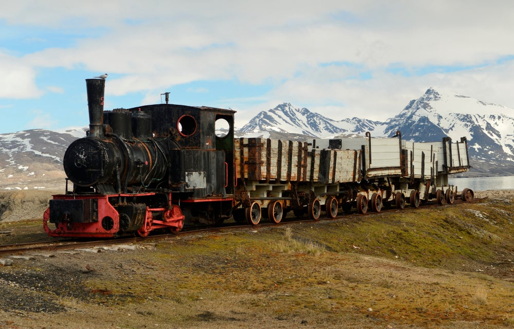 Old mining locomotive No 2 on display near the harbour at Ny Alesund, Spitsbergen.
