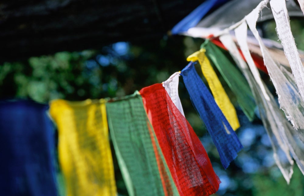 Colourful prayer flags hanging in the Jacques Marchais Centre of Tibetan Art, which houses the largest collection of Tibetan art outside China